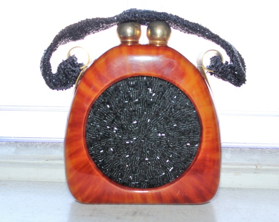 Vintage Tortoiseshell Lucite & Black Beaded Handbag Purse 1930s