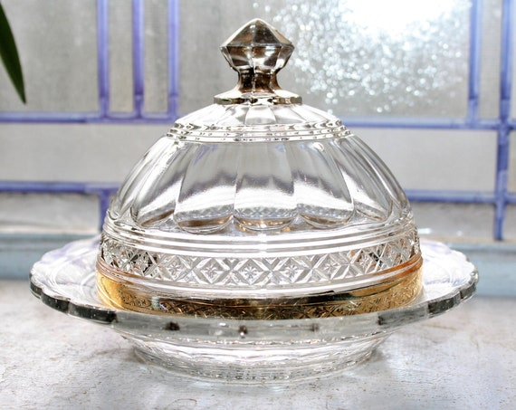 EAPG Domed Butter Dish Bosworth Star Antique 1900s Victorian Pressed Glass