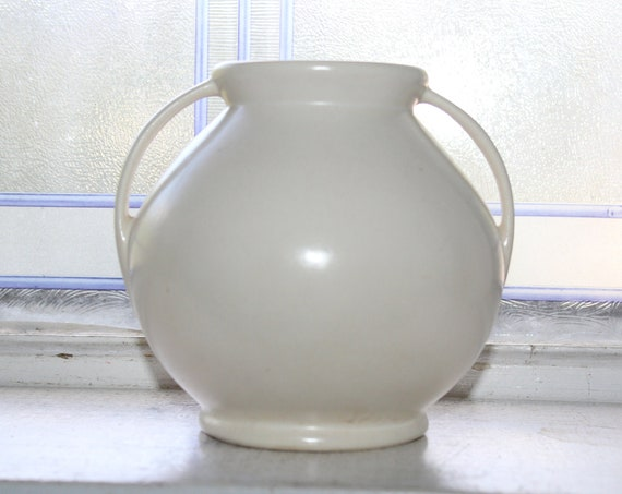 Vintage Art Deco Rumrill Pottery Vase White with Handles #302