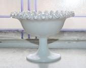 Vintage Fenton Silver Crest Pedestal Candy Dish Milk Glass