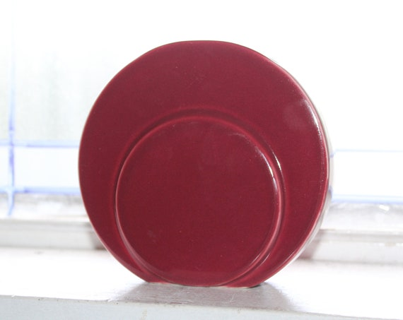 Vintage Art Deco Vase Trenton Pottery Maroon Red Disc Circlet
