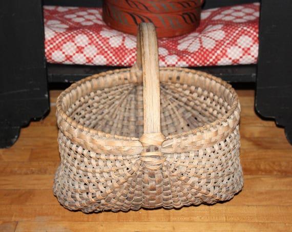 Large Antique Buttocks Basket Circa 1800s Country Americana Farmhouse