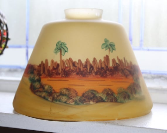 Antique Lamp Shade Frosted Glass Reverse Painted Desert Oasis Scene