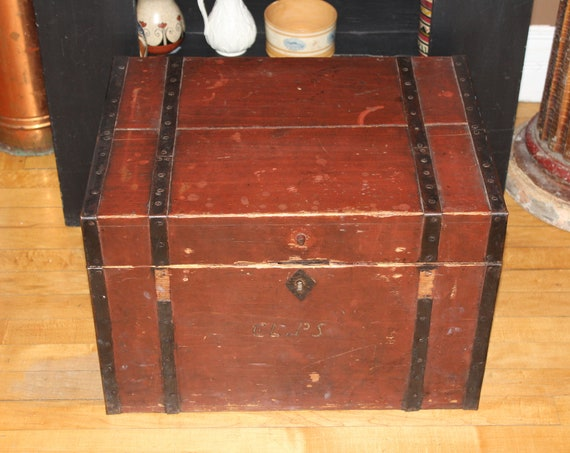 Antique 1800s Wood Trunk Immigrant Chest Red Paint Handmade Hardware