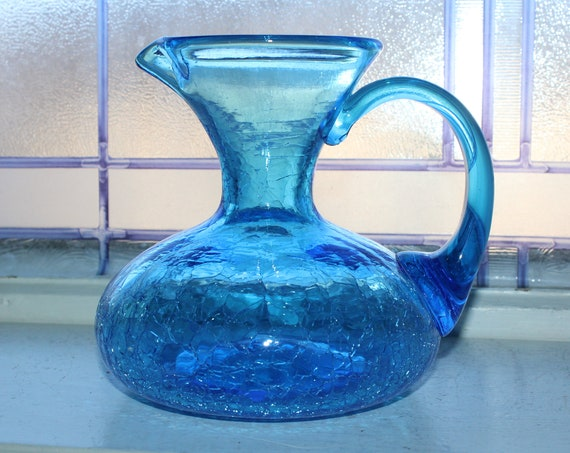 Vintage Blue Crackle Glass Pitcher Mid Century Decor