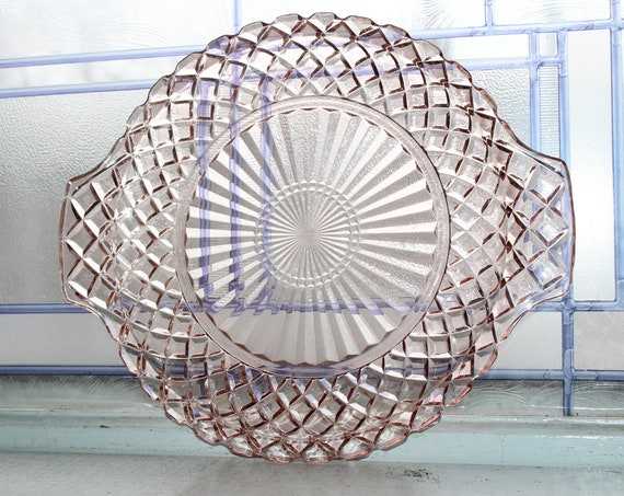 Pink Depression Glass Handled Cake Plate Waterford Vintage 1930s