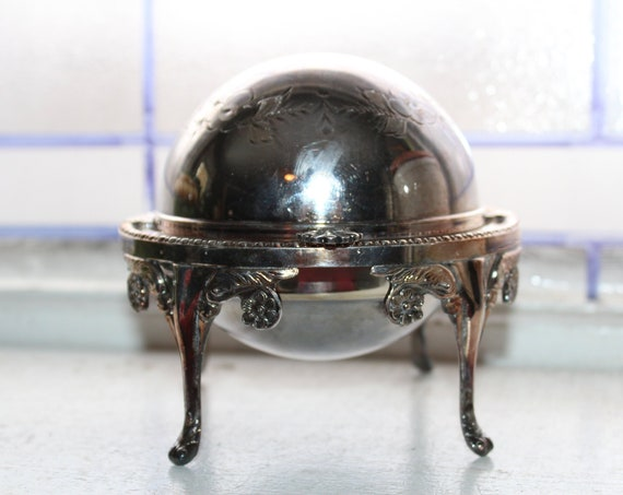 Vintage Hinged Lid Globe Butter Dish Silverplate with Glass Insert
