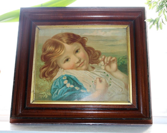 Young Girl With Daisies Antique Framed Victorian Print