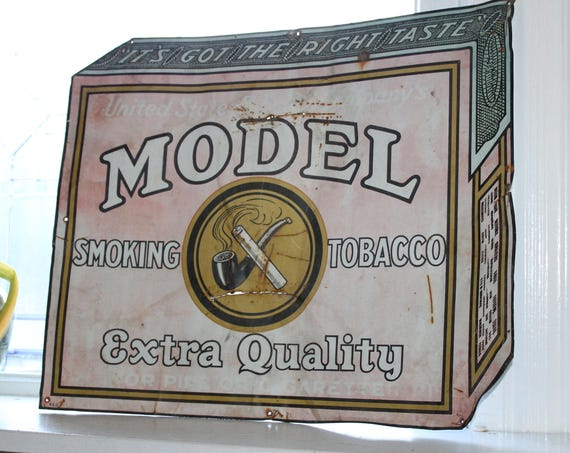 Antique Tin Sign Model Tobacco