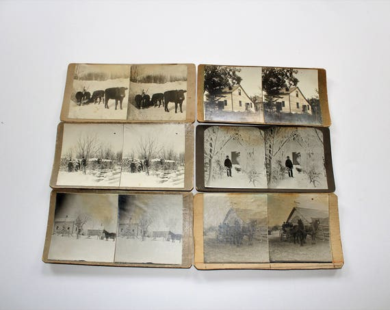 6 Antique Stereoviews Farm Scenes Handmade Early 1900s Rural Life