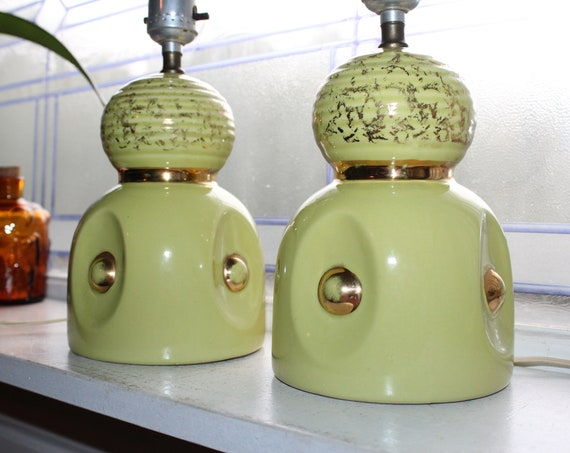 Mid Century Bedroom Lamps Pair Yellow and Gold Vintage 1950s