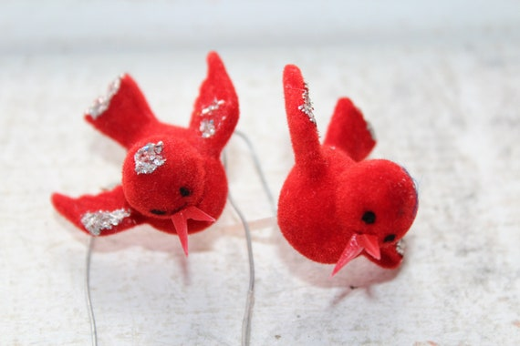 2 Vintage Christmas Red Bird Ornaments for Feather Tree