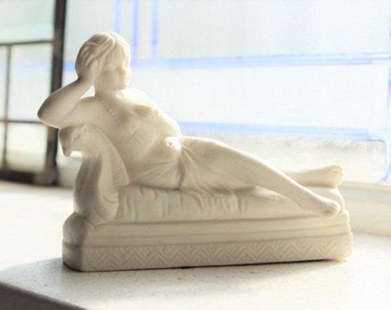 Art Deco Figurine Reclining Woman Semi Nude Vintage 1920s