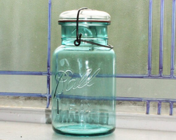 Blue Ball Jar Quart Blue Ball Ideal Mason Jar Vintage 1923 to 1933 Glass Lid Wire Closure
