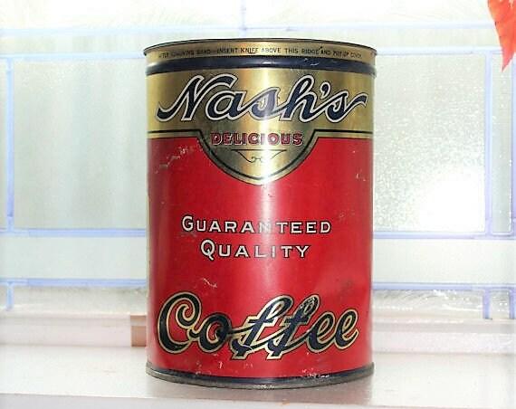 Vintage 1920s Nash's Coffee Tin 3 Lb. Farmhouse Decor
