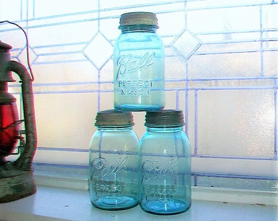 3 Vintage Blue Ball Perfect Mason Jars Quart 1923 to 1933