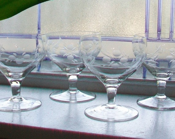 4 Vintage Etched Glass Champagne Glasses Stemware 2 Sets Available