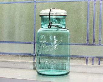 Blue Ball Jar Quart Blue Ball Ideal Mason Jar Vintage 1923 to 1933 Glass Lid Wire Closure