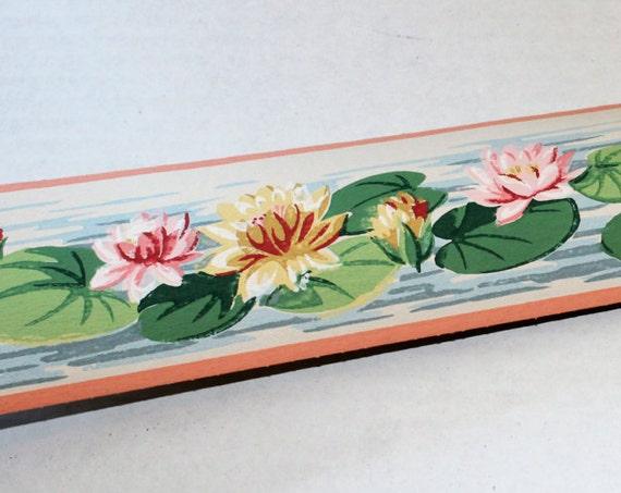Vintage 1950s Wallpaper Border Lotus Pond Dex Brand Unused Wall Paper