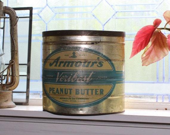 25 LB. Armour's Veribest Peanut Butter Tin Vintage Kitchen Tin