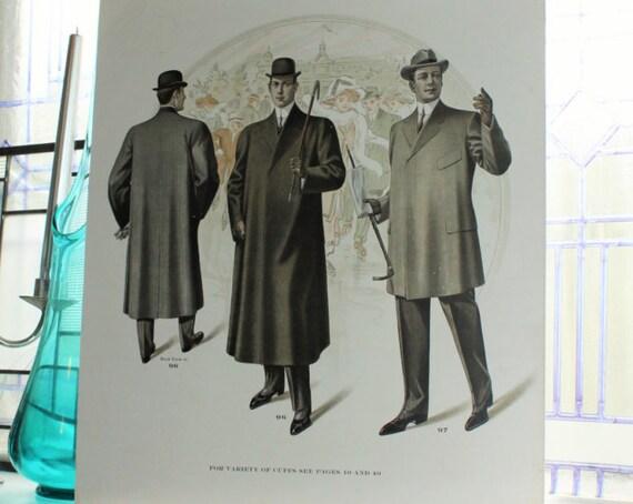 Large Antique Edwardian Mens Fashion Plate Tailor Catalog Print Circa 1909 18 x 15.5 Inch Steampunk Decor