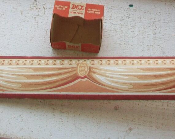 Vintage 1940s Wallpaper Border Unused Dex Brand Royal Sepia Pattern Wall Paper