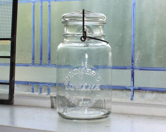 Vintage Decker's Iowana Quart Canning Jar with Glass Lid