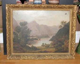 Antique Primitive Painting Oil On Tin 1800s Folk Art