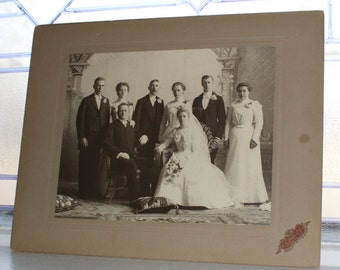Victorian Wedding Party Large Cabinet Card Photograph Antique 1800s Photo 14 x 11 Inch