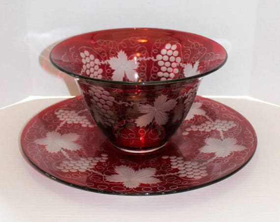 Bohemian Glass Punch Bowl and Underplate Ruby Red Flash with Grapes