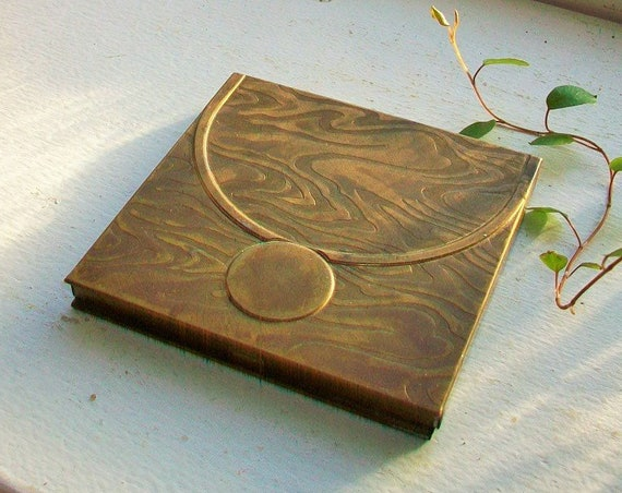Vintage Brass Tussy Compact 1920s Art Deco