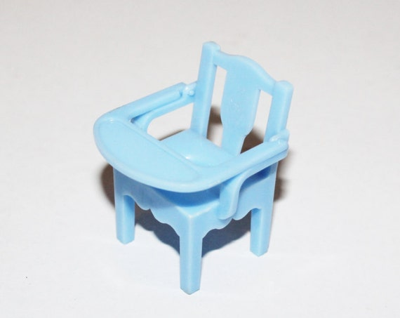 Dollhouse Furniture Renwal Blue Potty Chair High Chair Vintage 1950s
