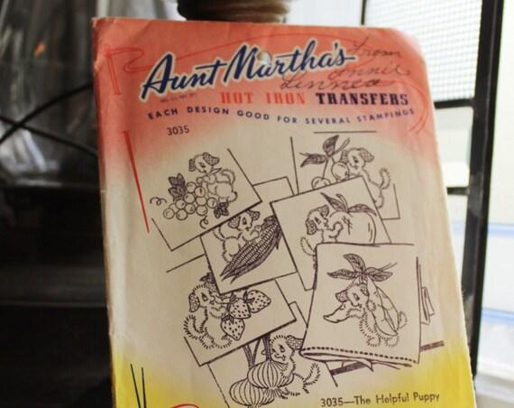 Helpful Puppy Tea Towels Pattern Aunt Martha's Hot Iron On Transfers Vintage Craft Supply Pattern 3035