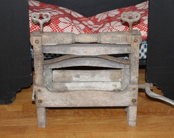 Vintage Wooden Clothes Wringer Anchor Brand Washing Machine Laundry Ringer Farmhhouse Decor