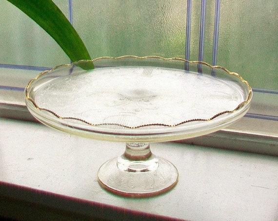 Vintage Glass Cake Stand Jeanette Harp