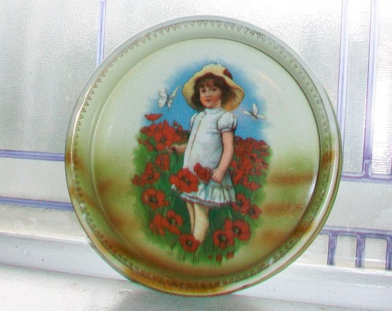 Antique Child's Dish Victorian Girl with Flowers