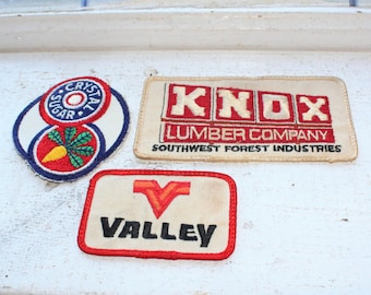 0453f81b36ab7 3 Cloth Patches Valley KNOX Lumber and Crystal Sugar