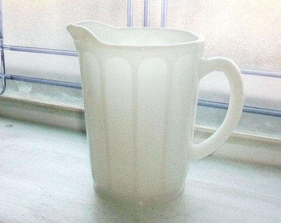 White Milk Glass Pitcher Vintage Hazel Atlas 1940s