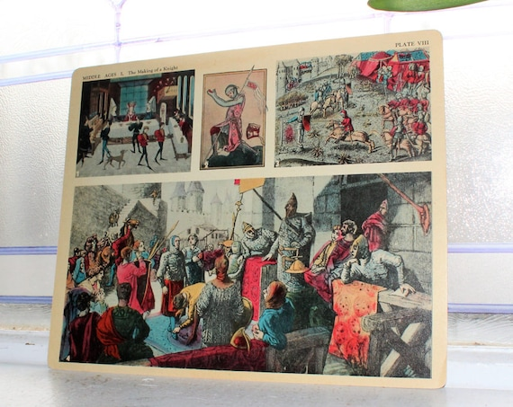 Middle Ages Making A Knight Card 1930s Comptons Picture Teaching Unit