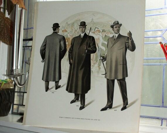 Large Antique Edwardian Mens Fashion Plate Tailor Catalog Print Circa 1909 18 x 16 Inch Steampunk Decor