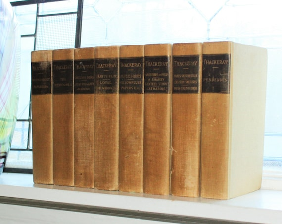 Thackerays' Works 8 Vol. Set Walpole Edition Society of English Fiction Antique Hardcover Books