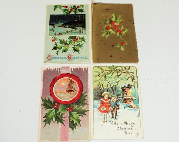 4 Antique Christmas Postcards 1910s