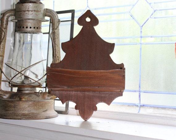 Wooden Wall Box Antique 1800s Folk Art
