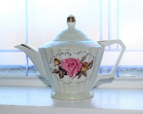 Vintage Teapot Lusterware w/ Pink Roses