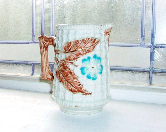 Antique Majolica Pitcher Basketweave and Floral Decor 1800s Antique Pitcher