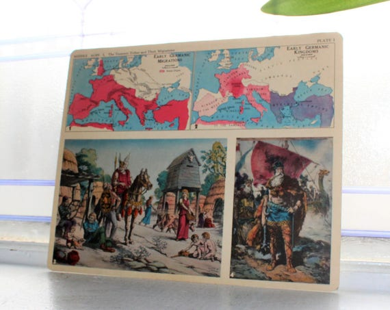 Middle Ages Teutonic Tribes Migration Card 1930s Comptons Picture Teaching Unit