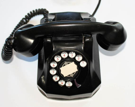 Vintage 1930s Art Deco Telephone Monophone Black Bakelite and Chrome