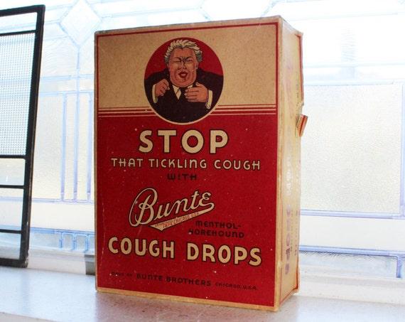 Antique Bunte Cough Drops Box Store Display