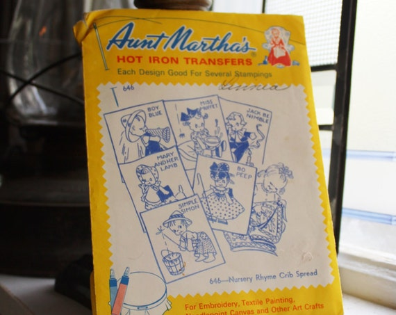 Nursery Rhyme Crib Spread Pattern Aunt Martha's Hot Iron On Transfers Vintage Craft Supply Pattern 646
