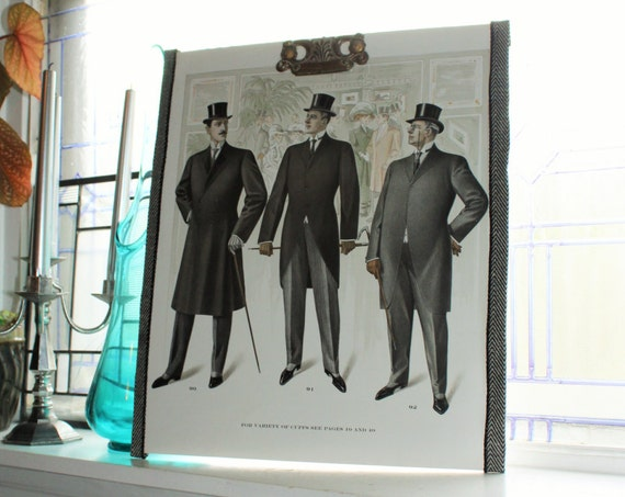 Large Antique Edwardian Mens Fashion Plate Tailor Catalog Print Circa 1909 18 x 15.5 Inch Steampunk Decor